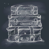 Hand drawn illustration of a stack of suitcases on blackboard — Stockvektor