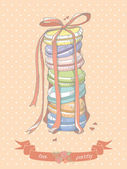 Colorful illustration of a stack of macaroons — 图库矢量图片