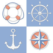 Set of nautical symbols — Stock Vector