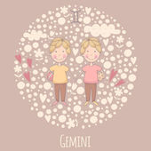 Cartoon illustration of the twins (Gemini) — Vettoriale Stock