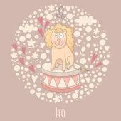 Cartoon illustration of the lion (Leo) — Stock Vector