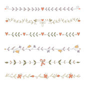 Set of hand drawn floral border elements — Stok Vektör