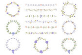 Set of hand drawn wreaths and boarders — Vetorial Stock