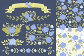 Set of floral elements and two seamless patterns — Stock Vector
