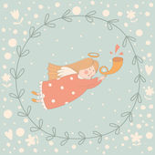 Cartoon illustration of a very cute angel in a wreath — Vector de stock