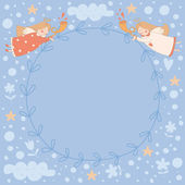 Wreath with two angels — Stock Vector
