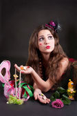 Portrait of the girl with accessories — Stock Photo
