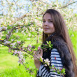 Beautiful young brunette woman standing near the apple tree — Stock Photo