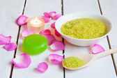 Aromatic Sea Salt for Spa with rose-petals — Stock Photo