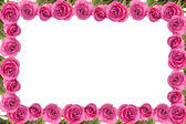 Frame made of beautiful pink roses, isolated on white — Stock Photo