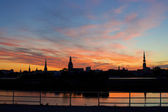 Panorama of old Riga night. Latvia — Stock Photo