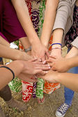 Many hands together — Stock Photo