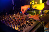 Dj on sound table — Stock Photo