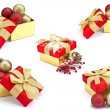 Set of festive gift boxes isolated on white background — Stock Photo #19603357