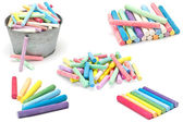 Set of colorful pieces of chalk isolated on white — Stock Photo