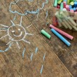 Child's drawings and coloured chalk — Foto Stock