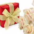 Stock Photo: Gift box with roses