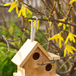 Wooden nesting box on garden background - Stock Photo