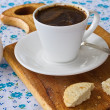 Cup of coffee with milk and cookies — Stock Photo