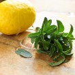 Fresh organic mint and lemon — Stock Photo