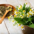 Fresh green leaves of melissa, chamomile, mint for tea — Stock Photo