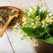Fresh green leaves of melissa, chamomile, mint for tea — Stock Photo #26142787