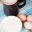Dairy products - milk, sour cream, eggs. — Stock Photo