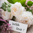 Postcard with elegant flowers and tag with words With love — Stock Photo #26411881