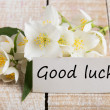 Postcard with elegant flowers and tag with word Good luck — Stock Photo