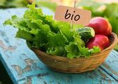 Fresh organic salad, tomato, cucumber in bucket — Stock Photo