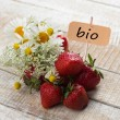 Fresh strawberry. Tag with word bio. — Stock Photo