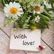 Stock Photo: Post card with wild flowers and tag