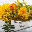 Postcard with yellow flowers. Autumn theme. — Stock Photo