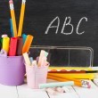 School stationery on wooden table. Educational concept. — Stock Photo #28973821