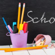 School stationery on wooden table. Educational concept. — Stock Photo