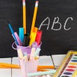 School stationery on wooden table. Educational concept. — Stock Photo #28973837