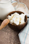 Dairy products - cottage cheese, milk. — Stock Photo