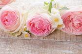 Vykort med färska blommor — Stockfoto