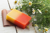 Bar of natural handmade soap — 图库照片