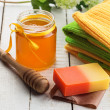 Honey spa. Bar of natural handmade soap iwith honey. — Stock Photo