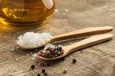 Mixed pepper, salt, oil — Stock Photo