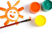 Child drawing and paints — Stock Photo