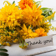 Postcard withautumnal flowers and tag — Stock Photo #30188601