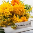 Postcard withautumnal flowers and tag — Stock Photo