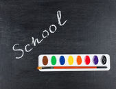 Chalk drawing - word school on blackboard — Stock Photo