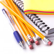 Pencils, pen, notebook, stickers — Stock Photo