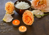 Spa concept. Sea salt and flowers. — Stock Photo