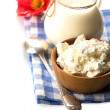 Cottage cheese, milk — Stock Photo