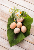 Chickenl eggs on wooden background — Foto Stock