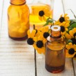 Herbs and bottle with medicines. Concept homeopathy. — Stock Photo #34354649